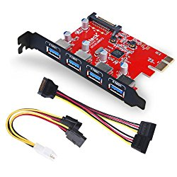 Inateck 4ポートUSB3.0増設ボード UASP対応 補助電源需要 PCIex1 Rev.2用インターフェースカード KT4001